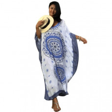 Blue Bohemian Print Kaftan Maxi Dress